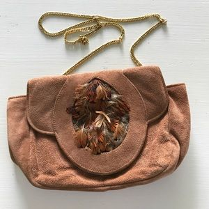Ruth Saltz Vintage Suede Purse With Feather Detail
